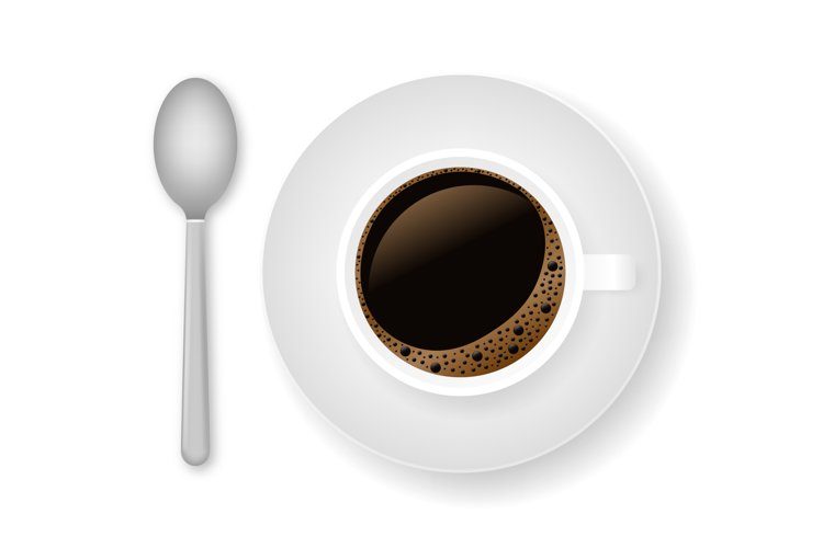 Hot coffee in a white cup and saucer example image 1