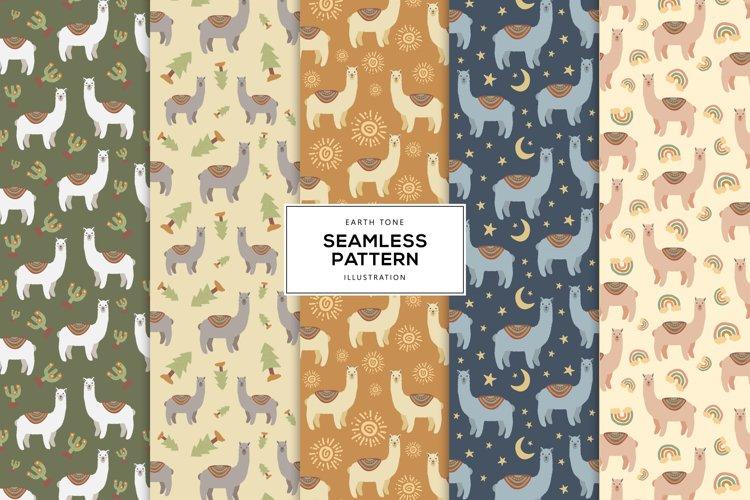 Earth Tone Illustration of Llama Alpaca Seamless Pattern