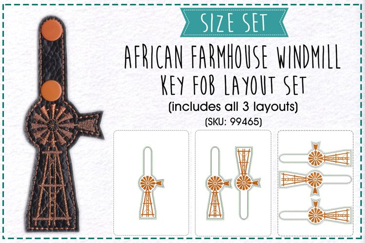 Farmhouse Windmill with Ladder Key Fob Embroidery Design example image 1