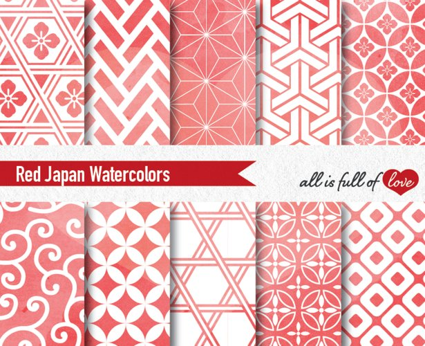 Red Digital Paper Japanese Background Patterns example image 1