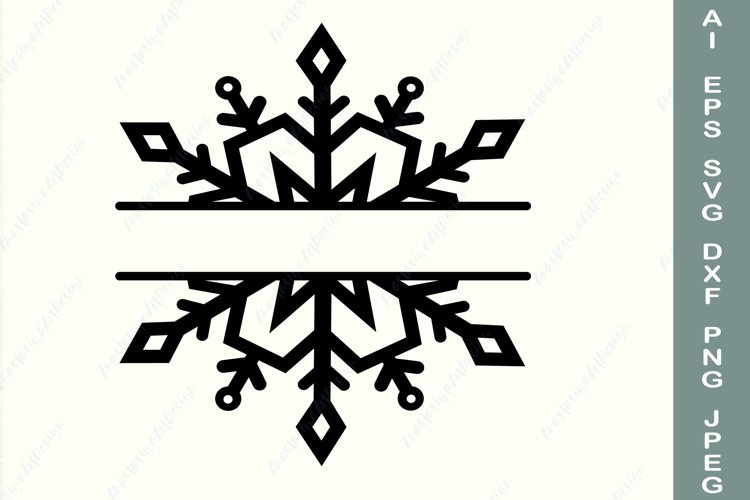 Snowflake frame svg, Split monogram svg, Christmas border example image 1