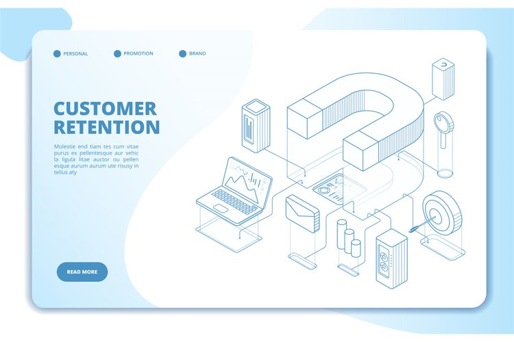 Customer retention landing page. Client loyalty and branding example image 1