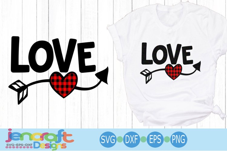 Buffalo Plaid Love Heart arrow, Valentine SVG Cut file
