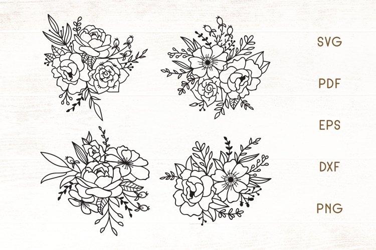 Decorative Flowers SVG Set of 4 - Floral SVG example image 1