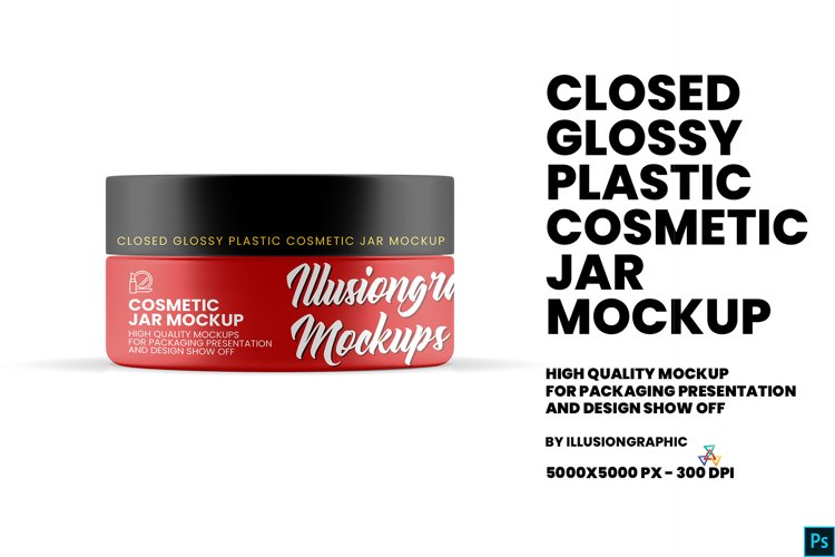 Closed Glossy Plastic Cosmetic Jar Mockup example image 1