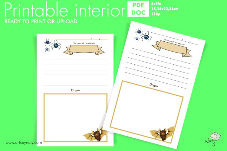 Write and draw a Halloween story printable journal for kids