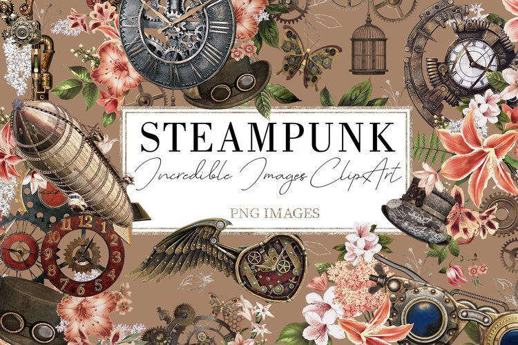Steampunk  68 Elements in PNG example image 1