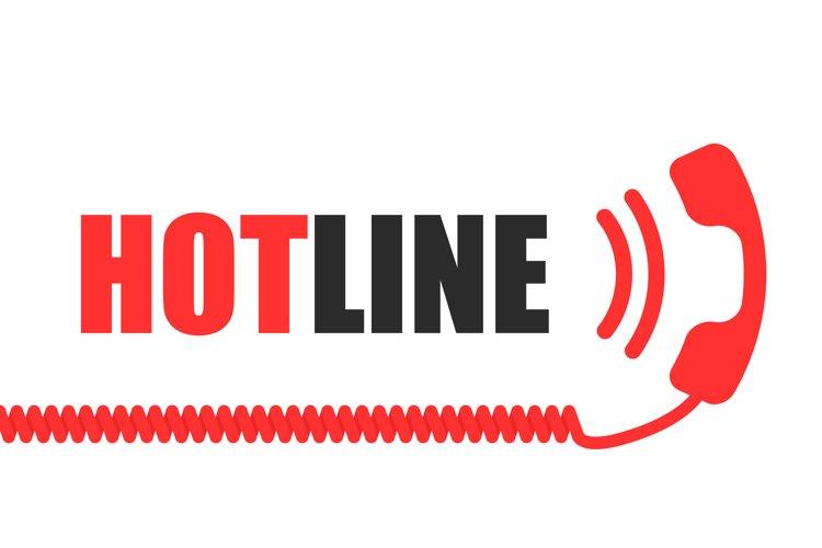 Hotline vector telephone handset flat online help concept