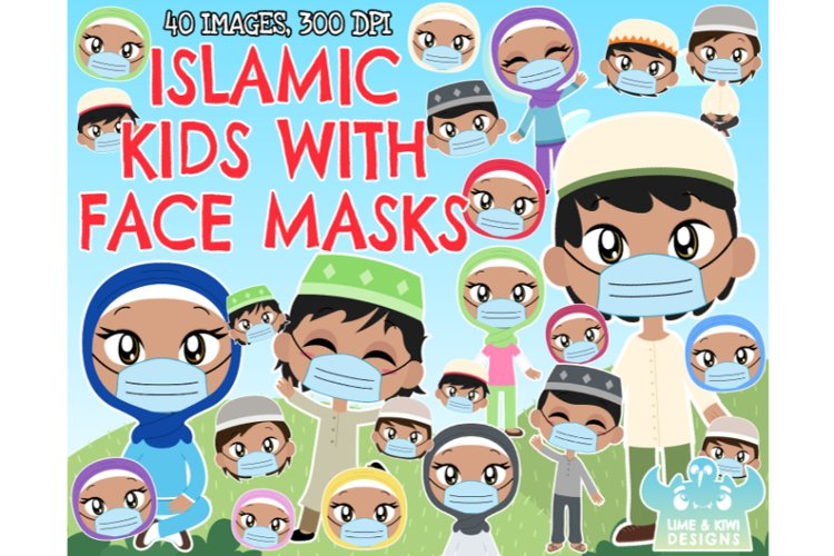 Islamic/Muslim Kids with Face Masks Clipart