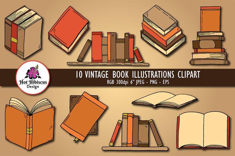 Vintage Book Illustrations | Pile of Books Clipart Bundle