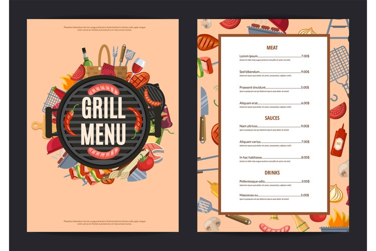 Vector barbecue or grill vertical menu template example image 1