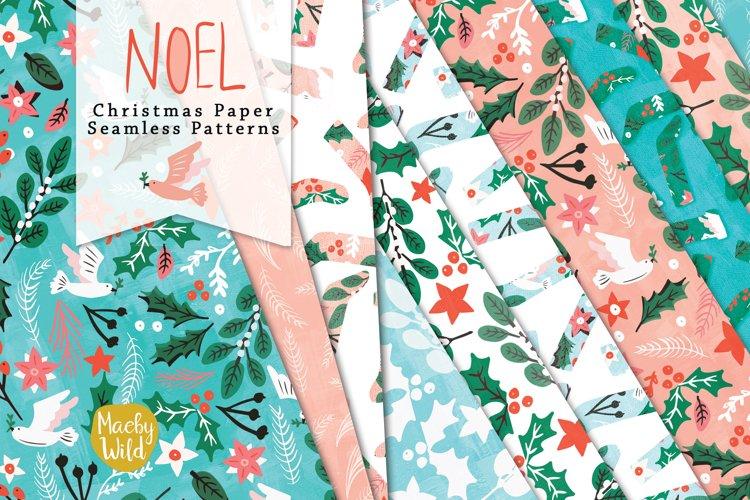 Noel Christmas seamless digital patterns,doves, holly, paper