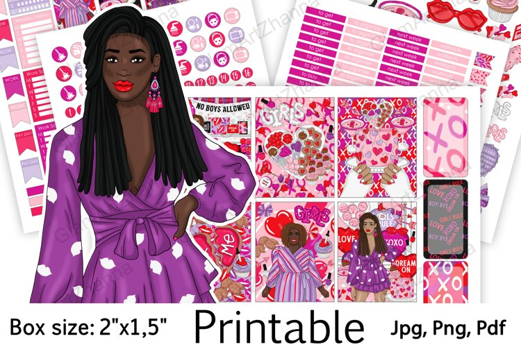 """Galentine's Day African American Stickers Box Size 2""""x1,5"""" example image 1"""