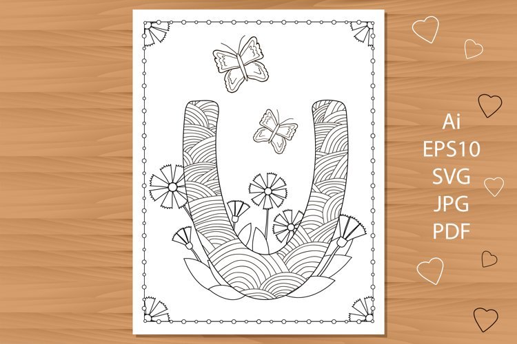 Letter U. Flowers. Coloring page. example image 1