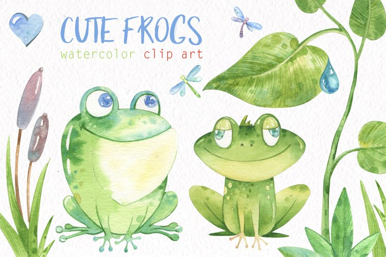 Watercolor Frogs Clipart. Frogs seamless patterns