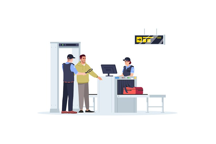 Check before boarding plane semi flat RGB color illustration example image 1