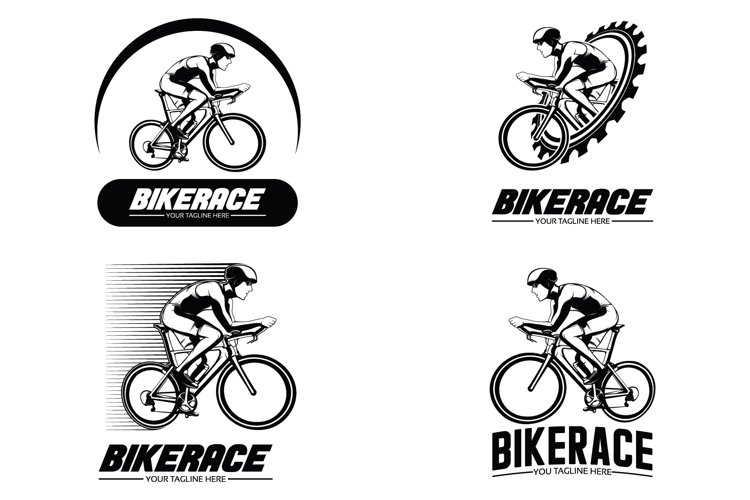 Set of bike race logo design illustration example image 1