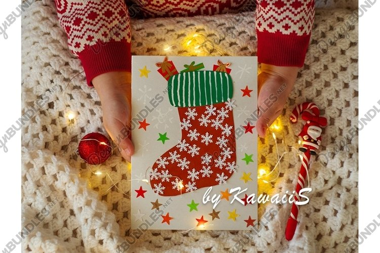 New year Christmas card red Santa stocking in childs hands