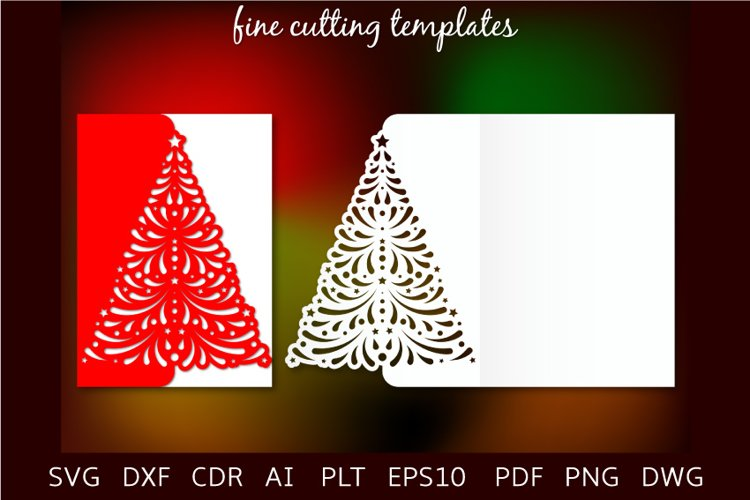 Christmas tree fold card 5x7 cutting template SVG example image 1