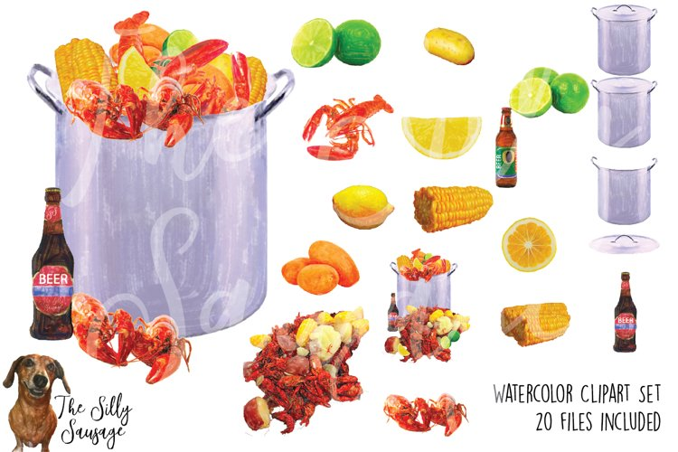 Seafood Low Country Boil Watercolor Clipart example image 1