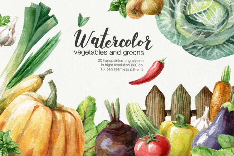 Watercolor vegetables and greens example image 1