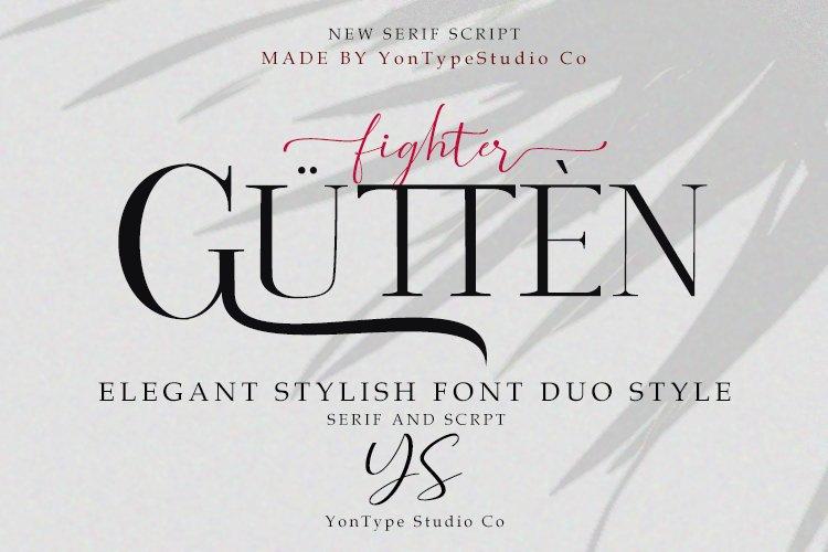Gutten fighter Font Duo w/ Bonus 6 Logos example image 1