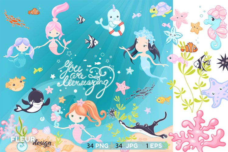 Mermaids and friends colorful Vector Digital Clipart.