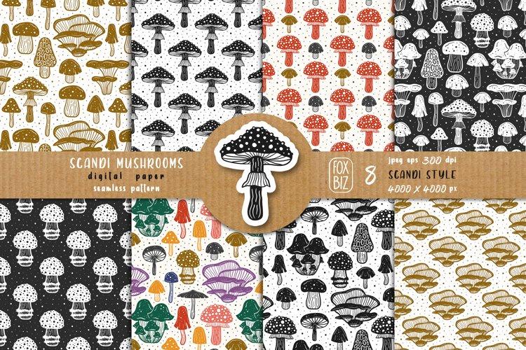 Mushrooms. Botanical, natural, floral seamless patterns. example image 1