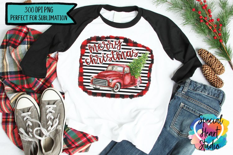 Christmas Sublimation Printable - Red Truck PNG example image 1
