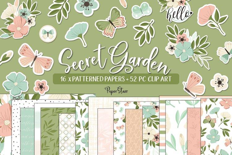 Spring Floral Digital Paper Clip Art Bundle