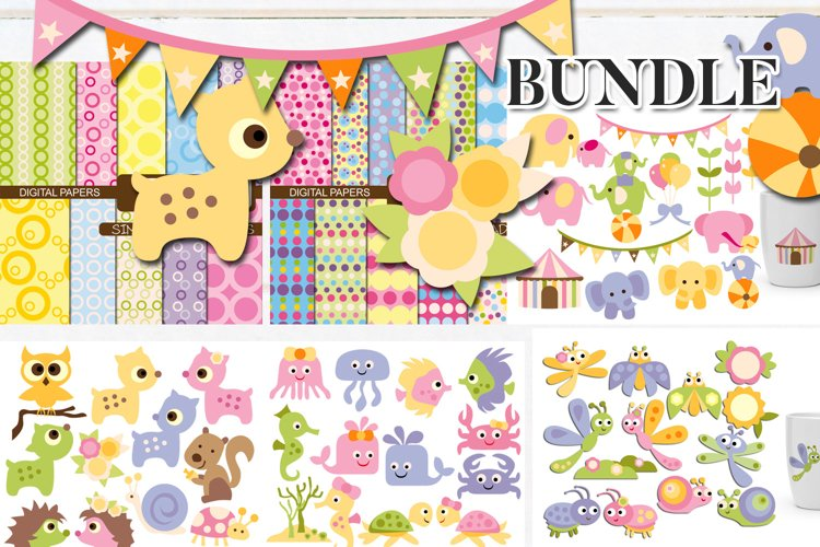 Animals clip art illustrations and papers bundle