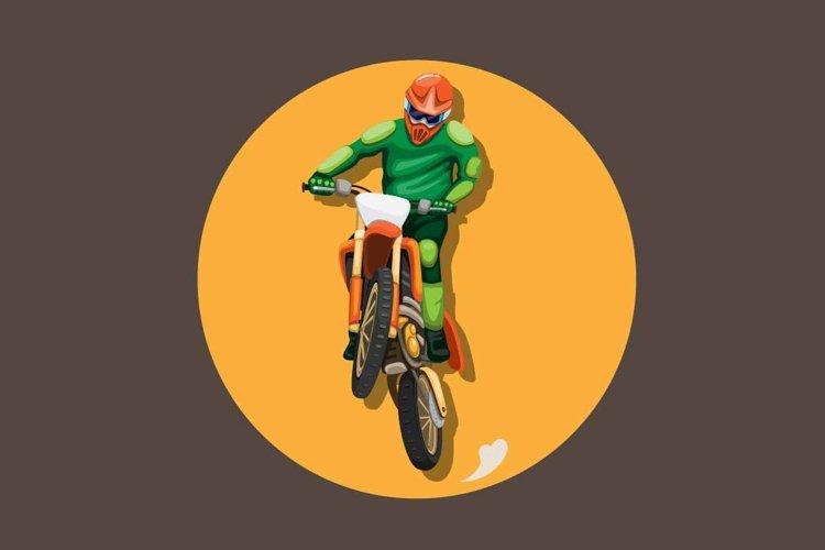 Motocross bike rider jumping pose mascot character vector example image 1