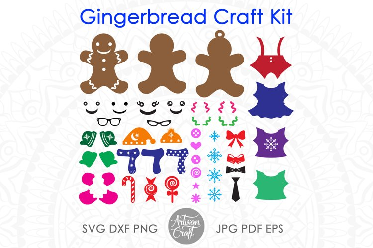 Gingerbread man SVG kit, Christmas paper crafts, clip art example