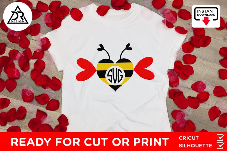 Bee Heart Monogram SVG example 1