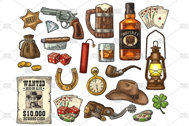 Set with Wild West and lucky symbols. example image 1