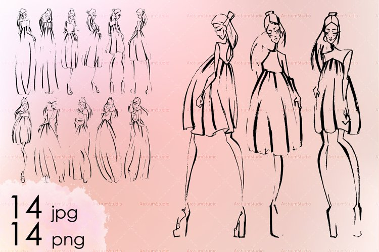 Sketches of fashion collection with woman dresses