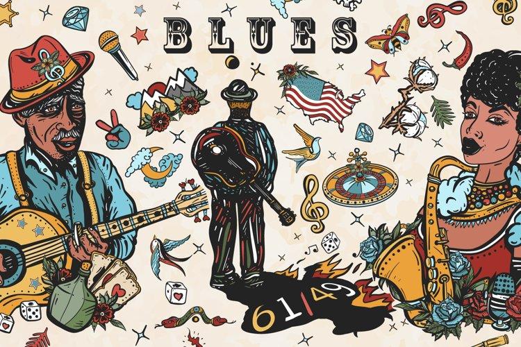 Blues old school tattoo example image 1