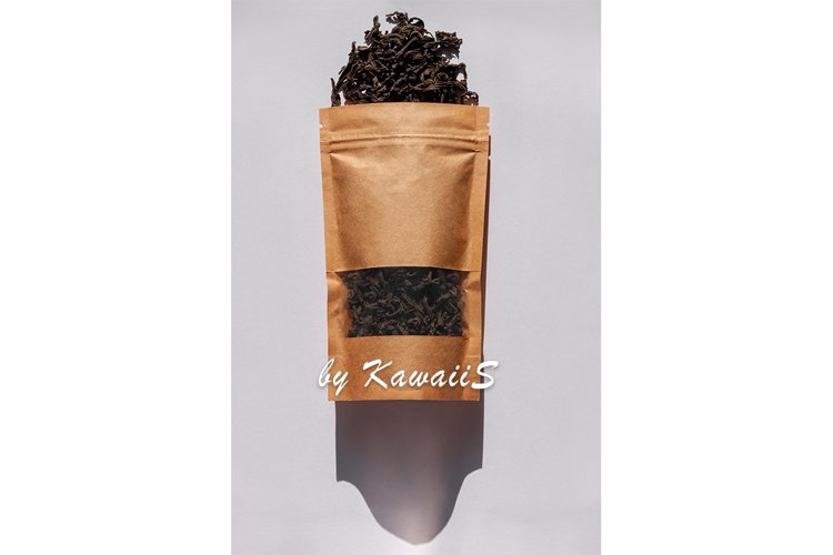 Brown kraft paper pouch bag top view with shadow on white example image 1