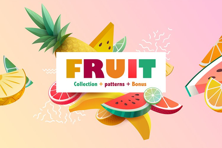Collection of stylized 3D fruits