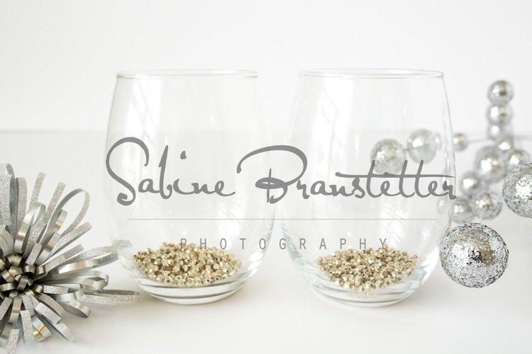 Styled Stock Photography Two Stemless Wine Glasses Mockup example image 1