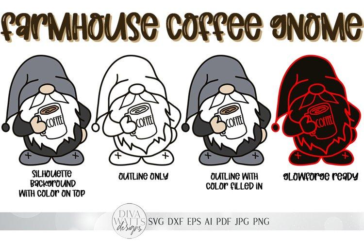 Farmhouse Coffee Gnome SVG   4 Versions of Gnome Included