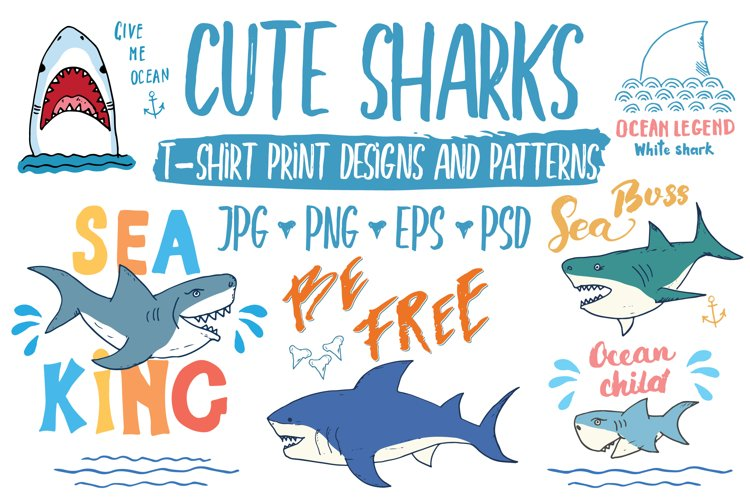 Cute Sharks Set and Patterns