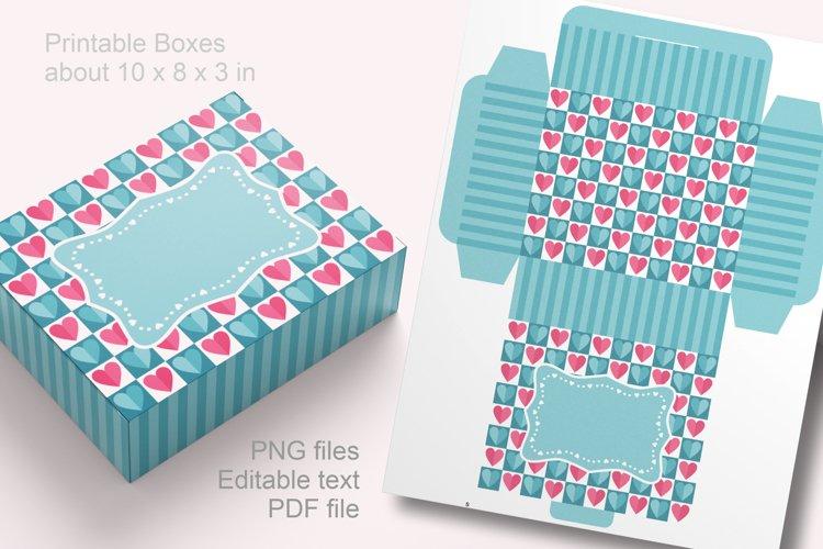 Blue Valentine Printable Rectangular Treat Boxes PDF PNG example image 1
