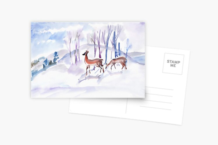 Watercolor illustration. Two roe deers in the winter forest