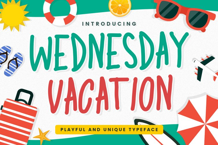 Playful Display Font - Wednesday Vacation example image 1