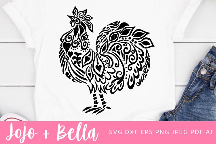 Zentangle Rooster Svg   Mandala SVG  Chicken SVG example image 1