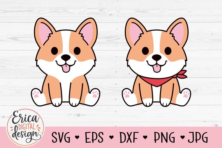 Baby Corgi SVG cut file Cute Puppy Sitting Dog with bandana example image 1