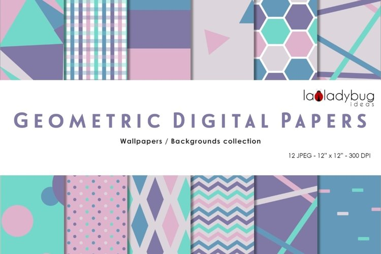 Purple and blue triangle digital papers. Geometric wallpaper example image 1