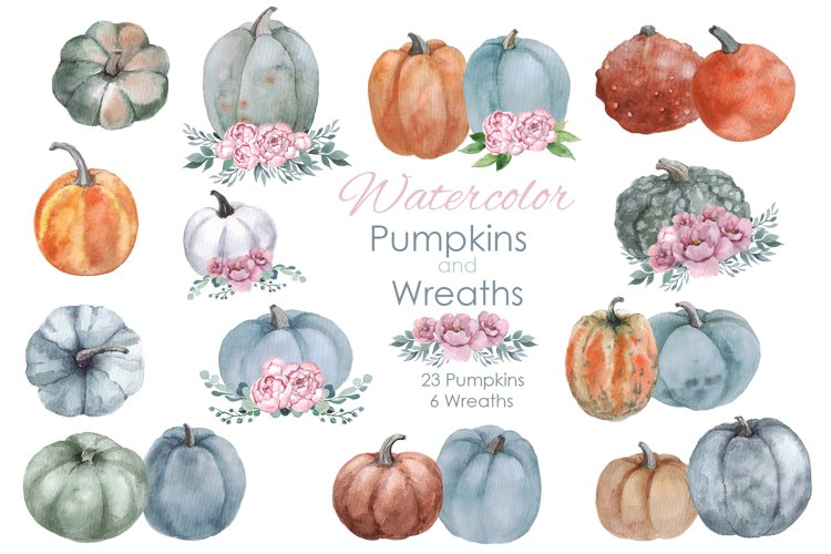 Fall Clipart. Pumpkin with flowers wreaths. Watercolor fall example image 1