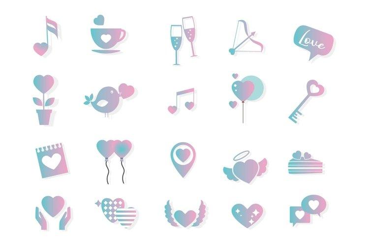 valentine icon gradient color love